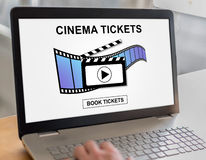 Online cinema tickets booking concept on a laptop. Laptop screen with online cinema tickets booking concept Royalty Free Stock Photos