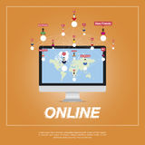Online city, people communicate in a network. World map on the screen. Flat  illustration EPS 10 Stock Photography