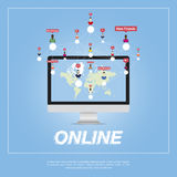 Online city, people communicate in a network. World map on the screen. Flat  illustration EPS 10 Stock Image