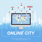 Online city, people communicate in a network. Royalty Free Stock Photos