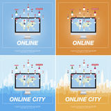 Online city, people communicate in a network. Royalty Free Stock Images