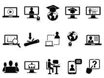 Online class icons set. Isolated online education class icons set from white background Royalty Free Stock Photography