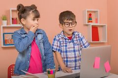 Free Online Classes, Teaching Online. Kids Learning Online Stock Images - 208322494