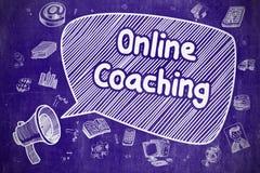Online-coachning - tecknad filmillustration på den blåa svart tavlan stock illustrationer