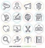 Online commerce line icons set Stock Image