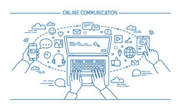 Online communication lineart banner. gadgets, information technology, communications, messaging, chat, media. Contour Stock Photo