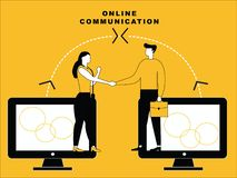 Online communication of male and female stock illustration