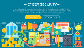 Online communication security, computer protection, cuber secutity infographics template design, web header elements Royalty Free Stock Photos