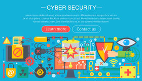 Online communication security, computer protection, cuber secutity infographics template design, web header elements. Poster banners, Vector illustration Stock Image