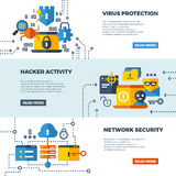 Online communication security, computer protection vector web banners set. Protect computer firewall, protect access to network illustration Royalty Free Stock Photography