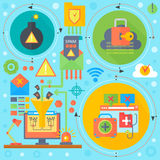 Online communication security, computer virus protection, cuber security infographics template icons in circles design Royalty Free Stock Image