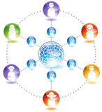 Online Community. People chat to each other in the online community across the globe Stock Photo