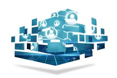 Online community on abstract screen Stock Photo