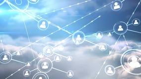 Online community on blue sky screen stock footage