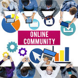 Online Community Connection Internet Concept. People Discuss Online Community Connection Internet Royalty Free Stock Photo