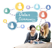 Online Community Sharing Communication Society Concept. Girlfriends sharing social life on online community Royalty Free Stock Photos
