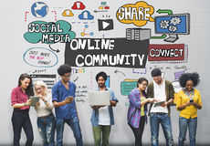 Online-Community-Social Networking-Gesellschafts-Zusammengehörigkeits-Konzept Lizenzfreies Stockbild