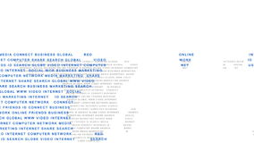 Online community terms forming map of the world stock footage