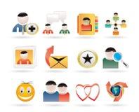 Online-Community und Sozialnetz-Ikonen Stockbild