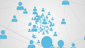 Online community on white screen stock footage