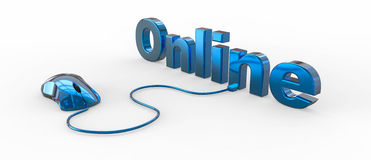 Online with computer mouse Royalty Free Stock Image