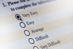 Online Computer Survey. A computer screen shows a multiple choice answer survey royalty free stock image