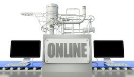 Online concept, computers en machine royalty-vrije illustratie