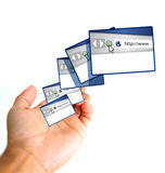 Online concept. hand holding a web browsers Stock Photos