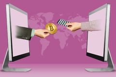 E-commerce concept, two hands from displays. hand with bitcoin and hand with medicine pills . 3d illustration. Online concept, hands from monitors. hand with stock illustration