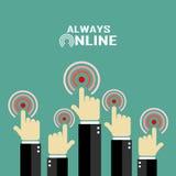 Always online concept poster. Always online, internet concept poster Stock Images