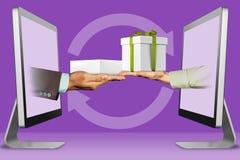 Online concept, twee handen van computers hand met de witte doos van de tabletcomputer en hand met giftdoos 3D Illustratie royalty-vrije illustratie
