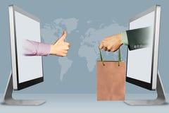 Online concept, twee handen van laptops beduimelt omhoog, als en hand met het winkelen zak 3D Illustratie Stock Foto