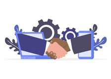 Handshake laptop and phone stock illustration