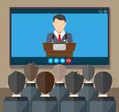 Online conference. Internet meeting, video call. Video conference concept. Room with chairs and crowd, big digital screen. Director communicates with staff Stock Photography
