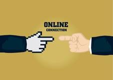 Online Connection for Business Metaphor Cartoon Vector Illustrat Stock Image
