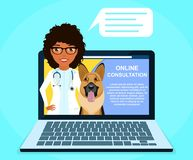 Online consultation with a professional veterinarian. A young girl offers online veterinarian advice. Medicine and healthcare royalty free stock photos