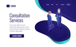 Online consultation, two men talking, to have a dialog, teamwork process isometric icon vector illustration