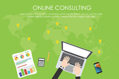 Online consulting business. With laptop, gps location graph document calculator and smartphone illustrated stock illustration