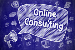 Online Consulting - Cartoon Illustration on Blue Chalkboard. Royalty Free Stock Photo