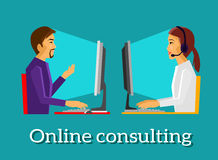 Online Consulting Design Flat Concept stock illustration