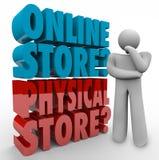 Online contro migliore vendita al dettaglio Cho di opzione di acquisto del pensatore fisico del deposito Fotografia Stock