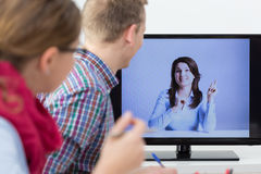 Online conversation at work Royalty Free Stock Images
