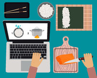 Online cooking courses. Cooking sushi maki. Online cooking courses. Vector illustration Royalty Free Stock Photography