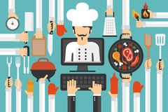 Online cooking training design flat. Vector illustration Royalty Free Stock Photography