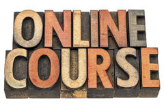 Online course banner in wood type Stock Image