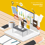 Online Course Business. Isometric Flat design concepts for Online Business Strategic Plan, Payment Plan, Store Management Concepts for web banners and Stock Photos