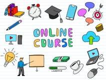 Online course doodle illustration art with paper background color royalty free illustration