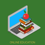 Online course education internet book flat 3d isometric vector Royalty Free Stock Image