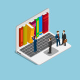 Online course education knowledge library flat isometric vector. Flat 3d isometric online course education knowledge library concept web infographics vector stock illustration
