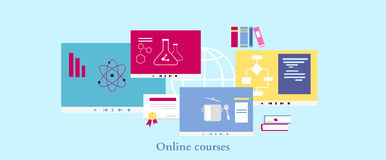 Online Course Icon Flat Design Style Stock Images